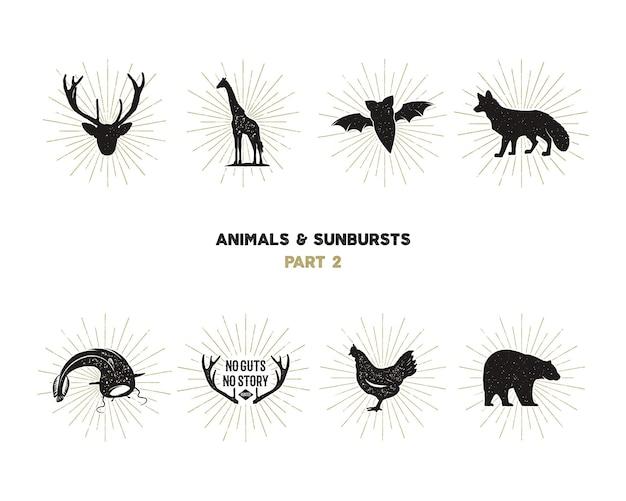 Zestaw figur i kształtów dzikich zwierząt z sunbursts na białym tle. czarne sylwetki żyrafy, kurczaka, lisa, jelenia, suma i nietoperza. używaj jako ikon lub w projektach logo. piktogramy wektorowe.