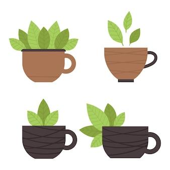 Zestaw filiżanek do herbaty z zielonymi liśćmi. herbata matcha. tradycyjna japońska ceremonia parzenia herbaty. ilustracja w stylu płaski.