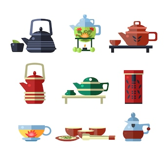 Zestaw filiżanek i czajników do herbaty. płaska ilustracja