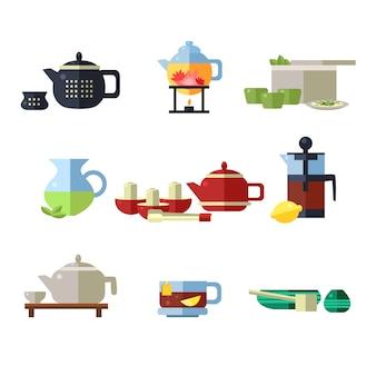 Zestaw filiżanek i czajników do herbaty