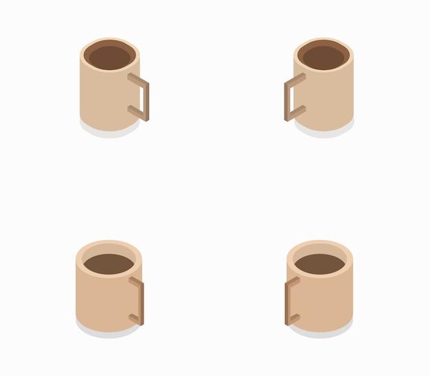 Zestaw filiżanek kawy izometryczny