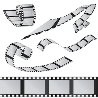 Zestaw filmów. rolka filmu 35mm. realistyczny obraz 3d. stara taśma filmowa. czas filmu ilustracja wektorowa. na białym tle.