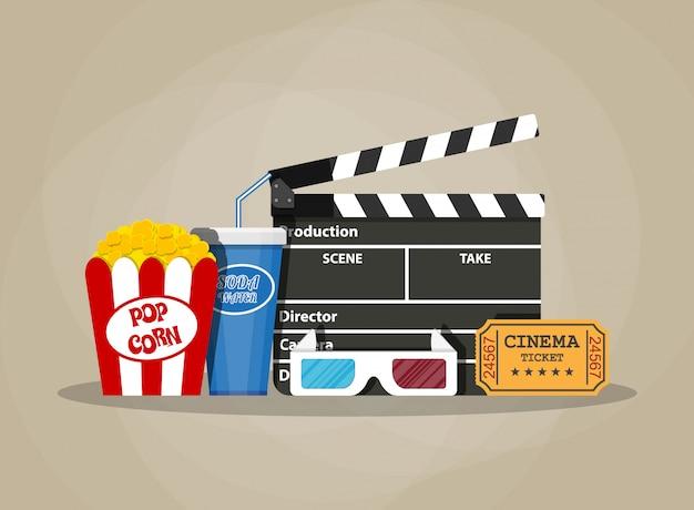 Zestaw filmowy retro. przedmioty kinowe
