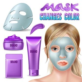 Zestaw fioletowej maski zmienia kolor na srebrzysty.