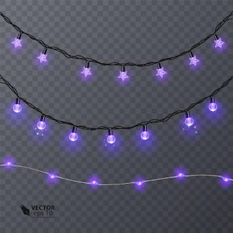 Zestaw fioletowych girland, ozdób świątecznych. świecące lampki choinkowe na przezroczystym tle. ilustracja