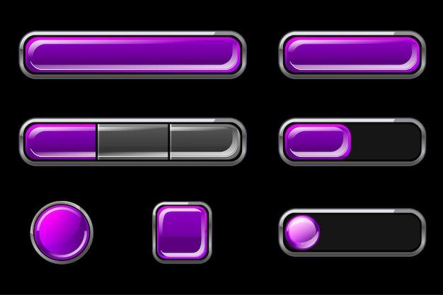 Zestaw fioletowych pustych błyszczących przycisków interfejsu użytkownika
