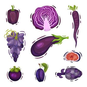 Zestaw fioletowych warzyw i owoców