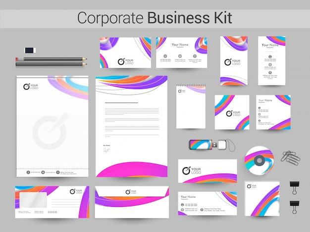 Zestaw firmowy z abstrakcyjnymi pasami kolorowe.