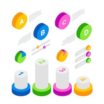 Zestaw firmy infografiki izometryczny