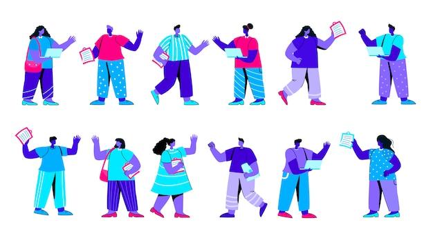 Zestaw firmy radość ludzi płaski niebieski charakter