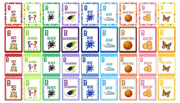 Zestaw fiszek alfabetu litery b.