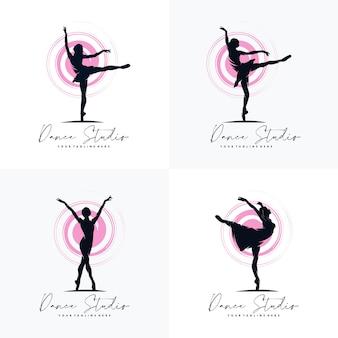Zestaw Fitness Gimnastyczne Logo Sylwetka Premium Wektorów