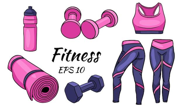 Zestaw fitness. ubrania, hantle i mata do uprawiania sportu i jogi.