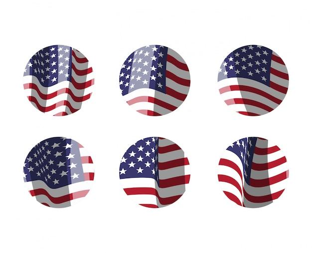 Zestaw flag amerykańskich emblematów i etykiet.