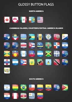 Zestaw flag błyszczący przycisk - ameryka północna i południowa, wyspy karaibskie, kraje, wyspy ameryki środkowej.