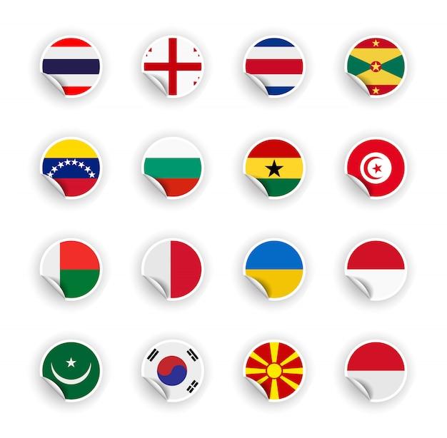Zestaw flag kraju w naklejki