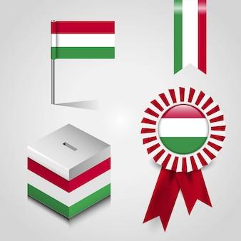 Zestaw flag kraju węgier