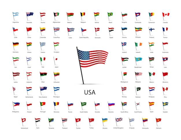 Zestaw flag na słupie z cieniem na białym tle