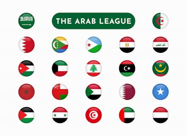Zestaw flag okrągłych krajów ligi arabskiej