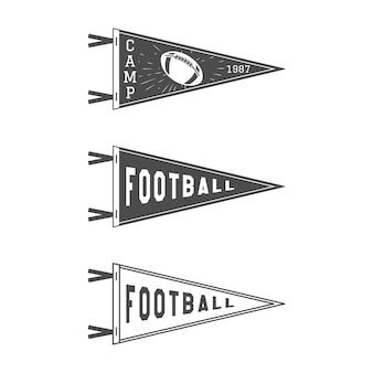 Zestaw flag proporczyków futbolu amerykańskiego. zapas na białym tle