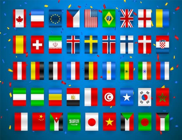 Zestaw flag suwerennych państw świata. kolorowe flagi różnych krajów europy i świata.