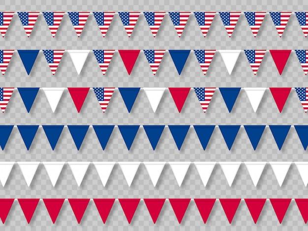 Zestaw flag usa trznadel w tradycyjnych kolorach.