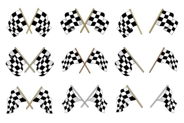 Zestaw flag w czarno-białą kratkę używanych w sportach motorowych z sześcioma różnymi skrzyżowanymi wzorami i sześcioma pojedynczymi flagami przedstawiającymi różne ruchy falujące materiału