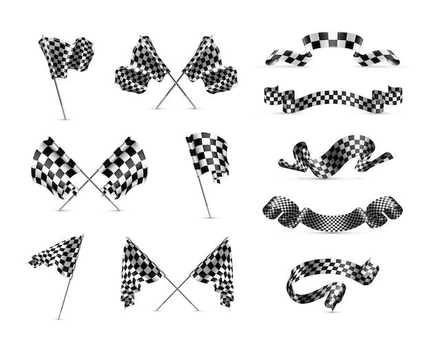 Zestaw flag w szachownicę