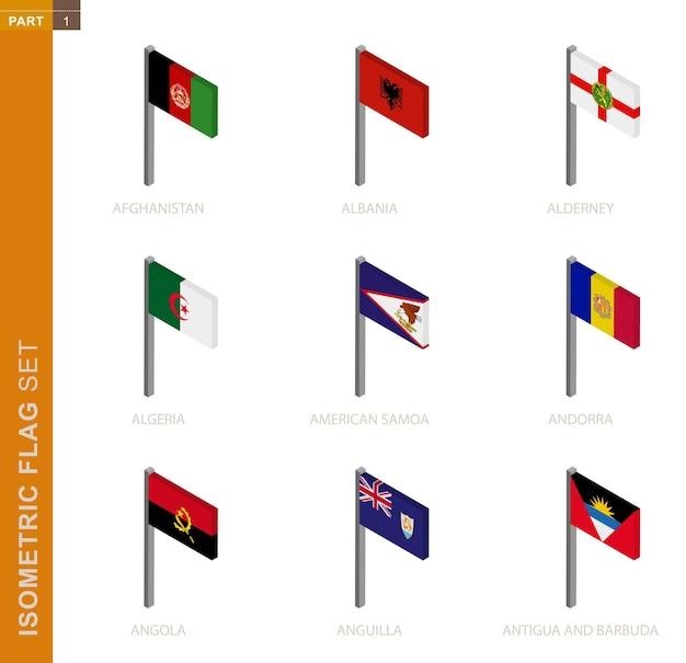 Zestaw flagi izometrycznej, maszt w wymiarze izometrycznym. kolekcja dziewięciu flag 3d.