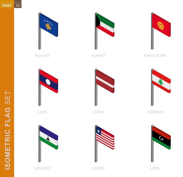 Zestaw flagi izometrycznej, maszt w wymiarze izometrycznym. kolekcja dziewięciu flag wektorowych 3d.