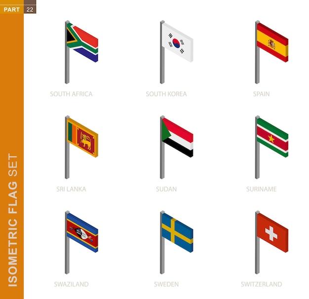 Zestaw flagi izometrycznej, maszt w wymiarze izometrycznym. kolekcja dziewięciu flag.