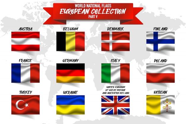 Zestaw flagi narodowej kraju europejskiego na tle mapy świata.