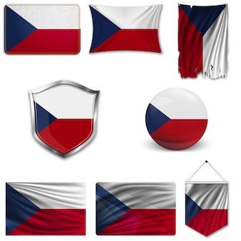 Zestaw flagi narodowej republiki czeskiej