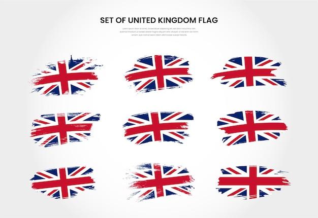 Zestaw flagi obrysu pędzla grunge kraju wielka brytania