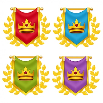 Zestaw flagi rycerza z koroną i wawrzyn