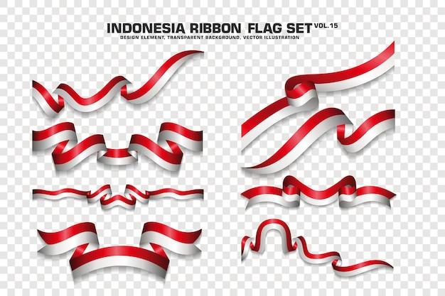 Zestaw flagi wstążki indonezji, element projektu. 3d na przezroczystym tle. ilustracja wektorowa