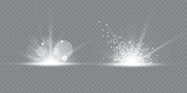 Zestaw flar przezroczystych soczewek i efektów świetlnych