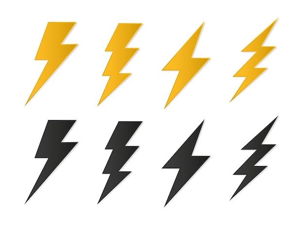 Zestaw flash thunder i błyskawica ikony błyskawicy symbole oświetleniowe
