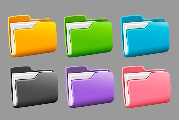 Zestaw folderów z ikonami