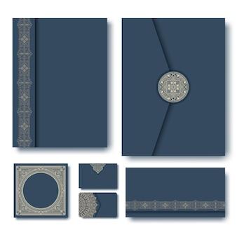Zestaw folderów z rocznika geometryczne ramki
