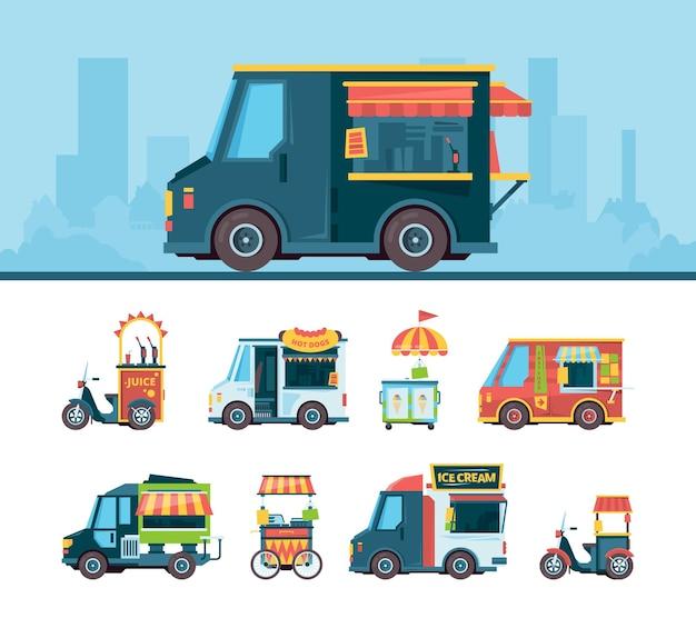 Zestaw food truck. samochody dostawcze festiwal transportują straganiarzy produkty kuchnia na płaskich zdjęciach samochodów ciężarowych typu fast food.