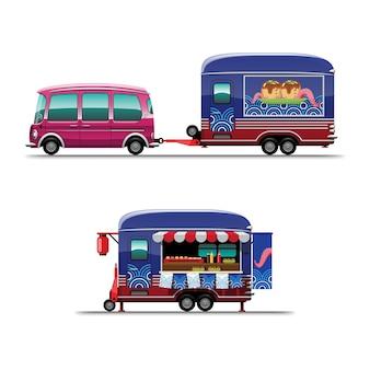 Zestaw food truck ze sklepem takoyaki japońska przekąska z tablicą menu i krzesłem, rysunek płaski ilustracja styl