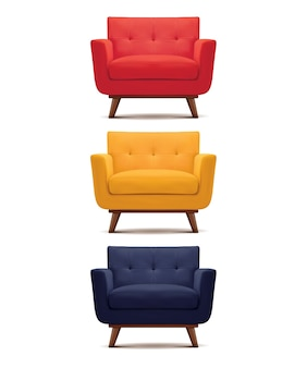 Zestaw fotel na białym tle