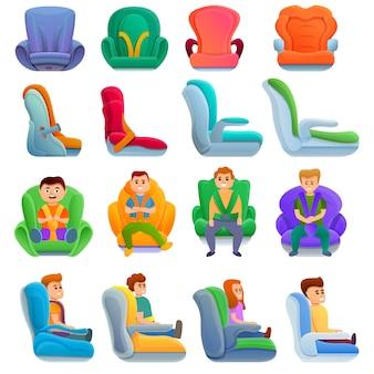 Zestaw fotelików samochodowych dla dzieci, w stylu cartoon