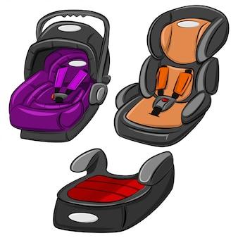 Zestaw fotelików samochodowych dla dzieci.