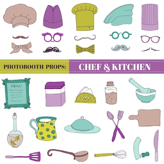 Zestaw fotobudek szefa kuchni i kuchni