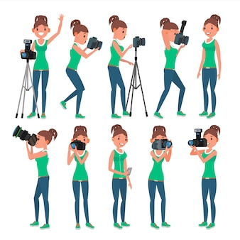 Zestaw fotograf kobieta