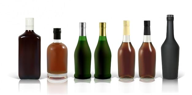Zestaw fotorealistycznych butelek whisky, koniaku i szkockiej na białym tle z cieniem i odbiciem. mocap do reklamy czerwieni, whisky, koniaku, szkockiej, brandy, rumu itp.