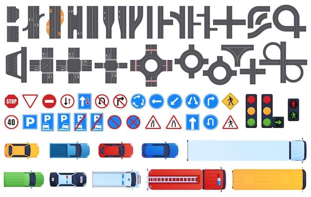 Zestaw fragmentów drogi. znaki drogowe, sygnalizacja świetlna. widok z góry samochodów. ruch drogowy.