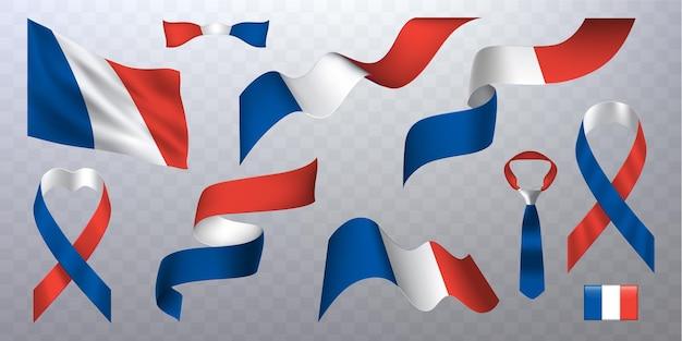 Zestaw francuskich flag i wstążek